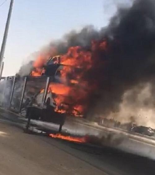 مقيم يمني يغامر وينقذ اربع سيارات من الإحتراق بالسعوديه (صور)